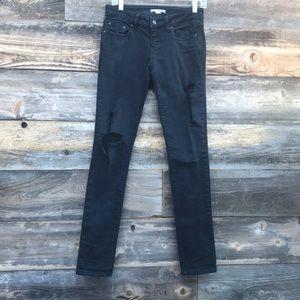 2.1 Denim Black Distressed Skinny Jeans